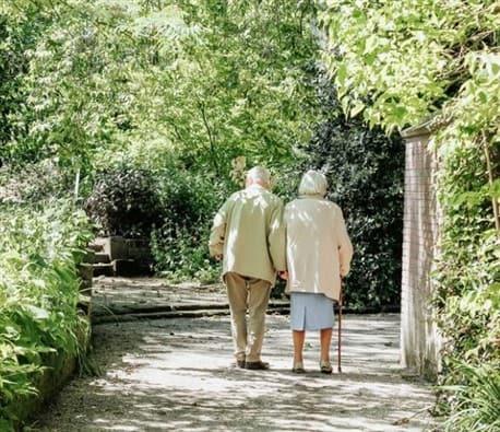 elderly happy couple of blue zones