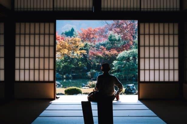 japanese temple man meditating